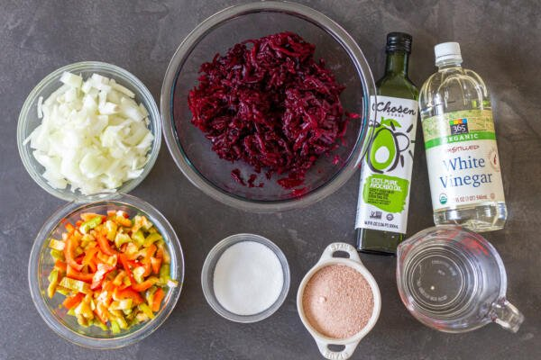 Ingredients for the marinated beet salad