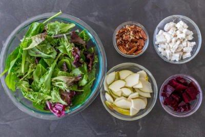 Ingredients for roasted beet salad