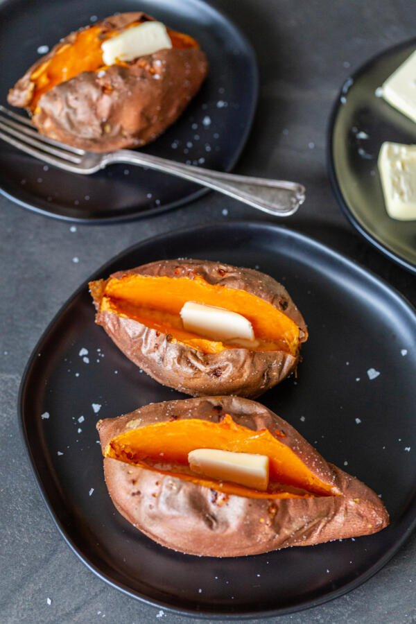 Air fryer sweet potato on a plate