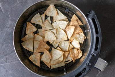 air fried tortilla chips in a basket