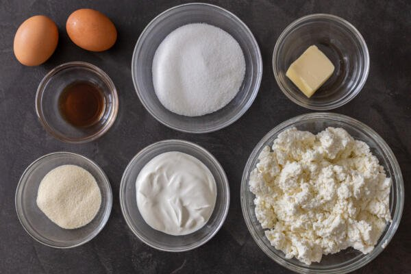 Ingredients for farmers cheese coffee cake