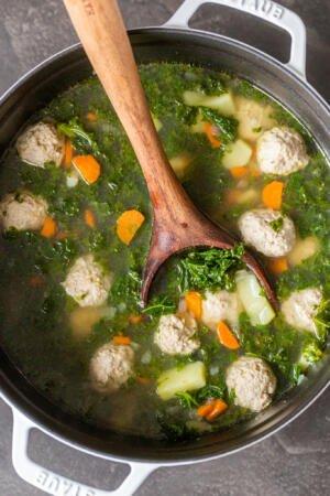 A pot of kale meatball soup