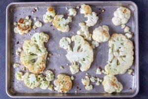 cauliflower on a baking sheet