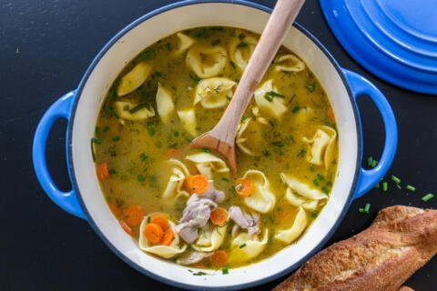 Chicken Tortellini Soup in a pot