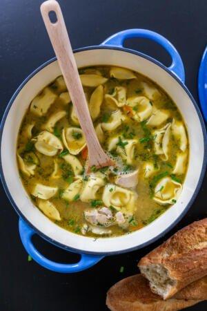 Chicken Tortellini Soup in a pot
