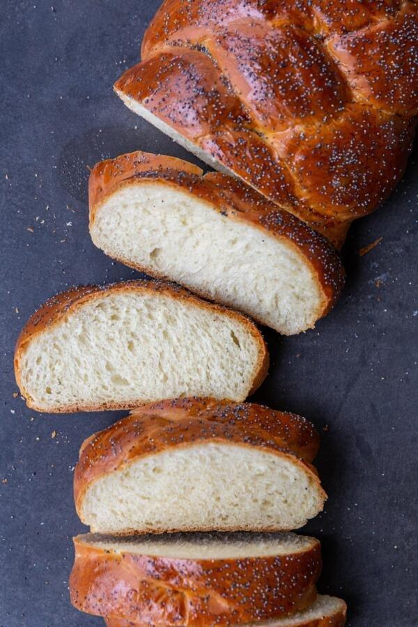 Sliced open Challah Bread