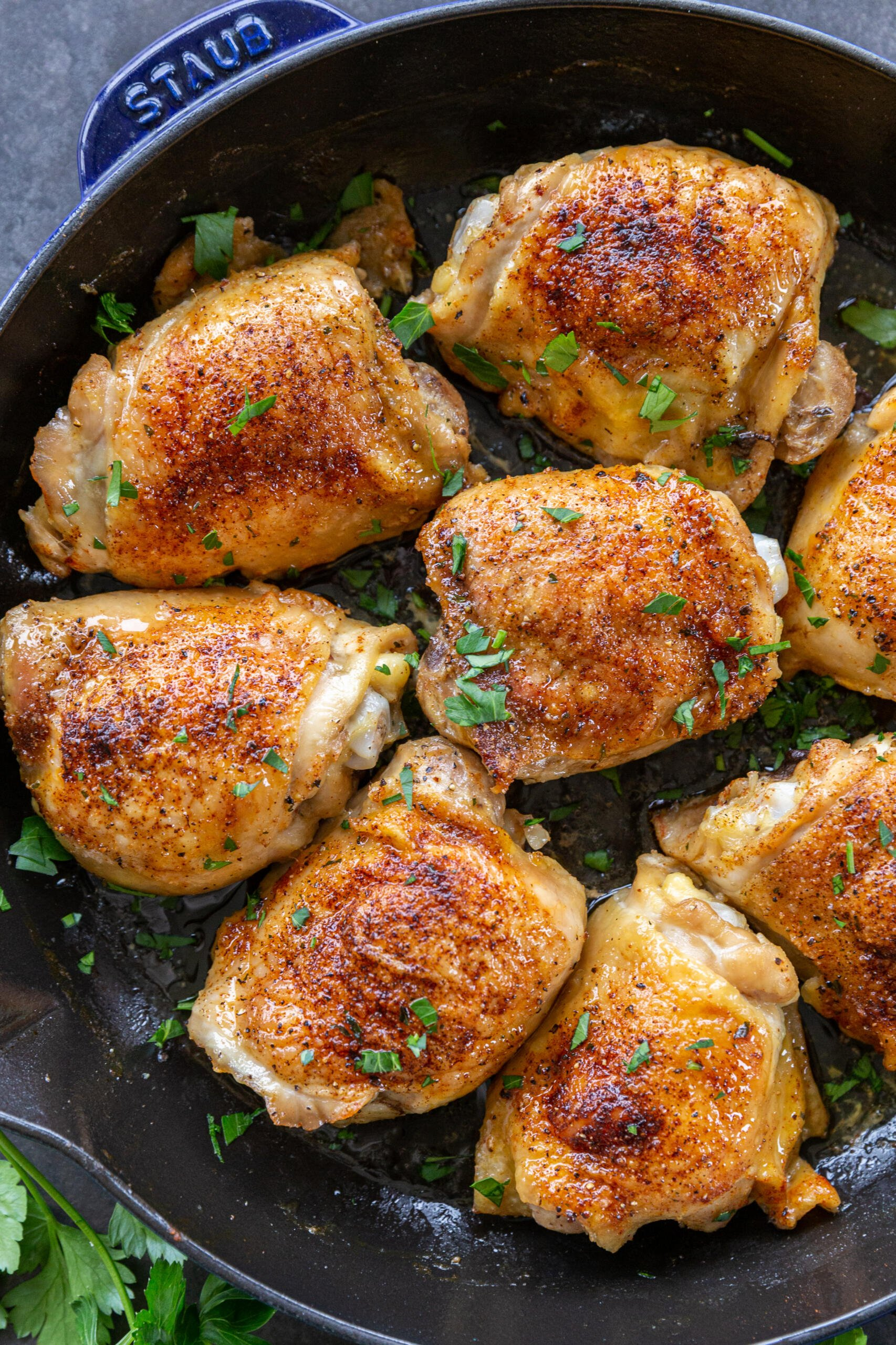 Baked chicken thighs in a pan