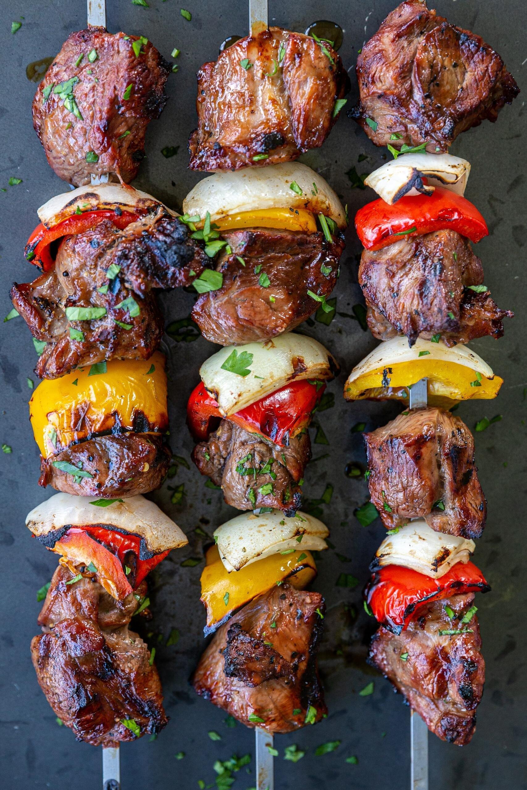 grilled kebabs on a skewer