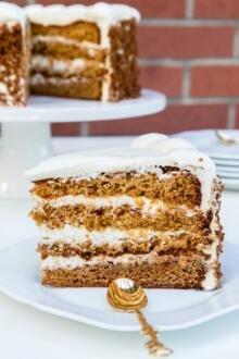 A slice of honey jam cake