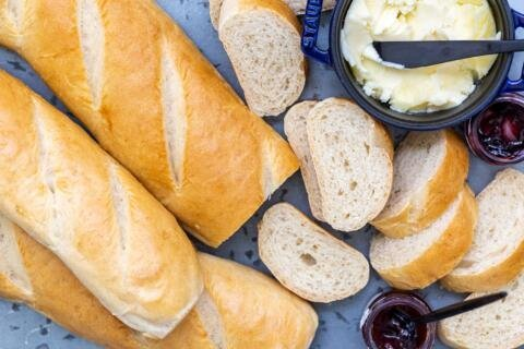 Slices of French bread with butter