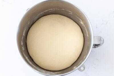 bread dough in a mixing bowl