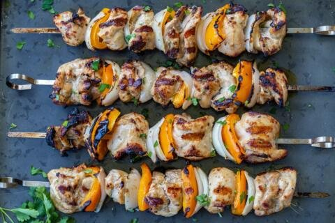 Grilled Chicken kebabs on skewers