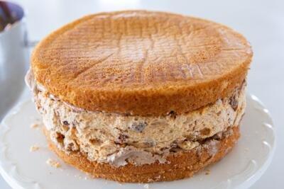 Meringue between two sponge cake slices