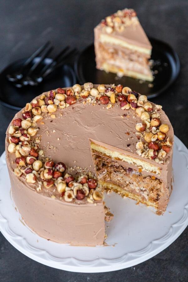 Kiev Cake sliced open in a cake stand