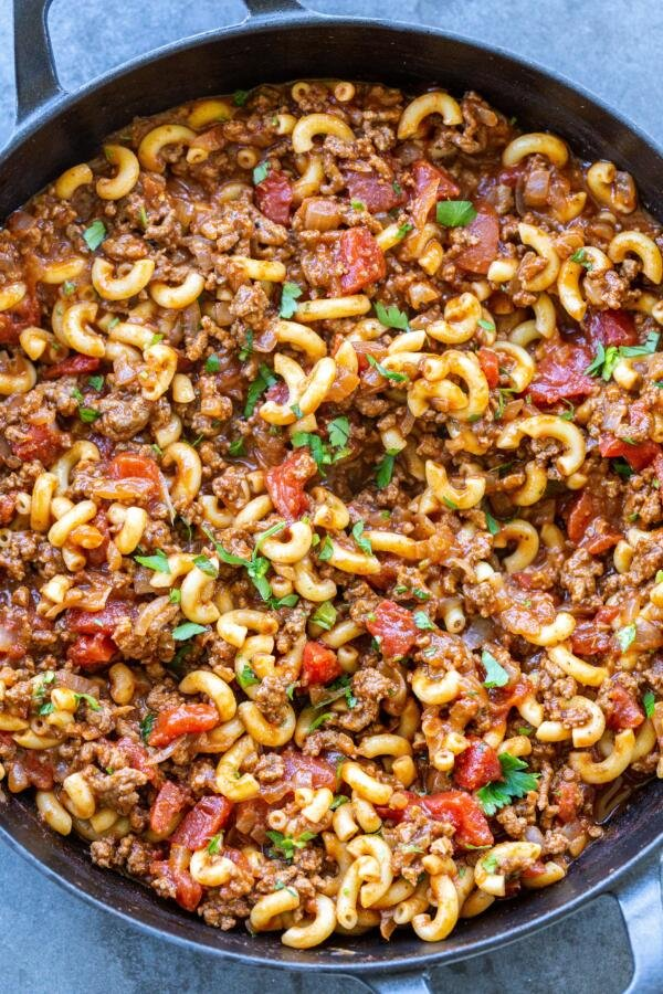 Goulash in a cooking pan