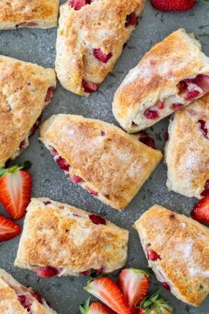 strawberry scones on a tray