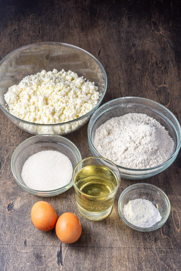 Ingredients for farmers cheese donut holes