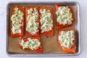 salmon with herb butter topping