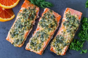 Herb Roasted Salmon on plate