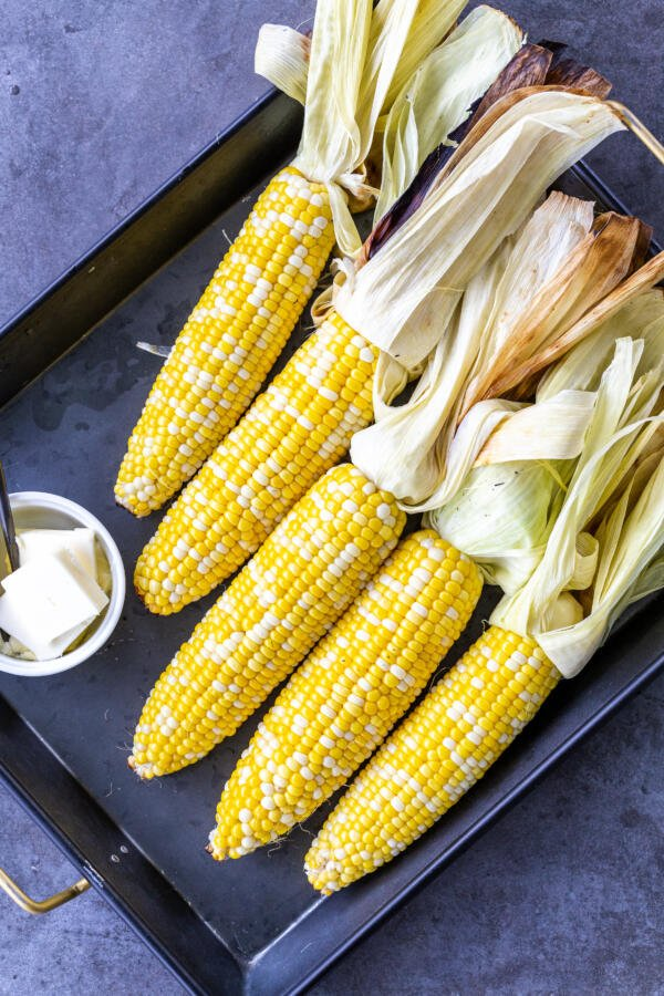 grilled corn on a tray