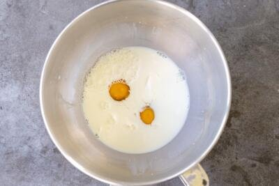 milk with eggs in a bowl