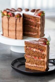 a slice of chocolate strawberry cake