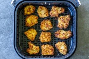 Air fryer chicken nuggets in a basket