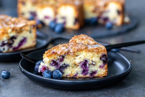 a slice of blueberry coffee cake