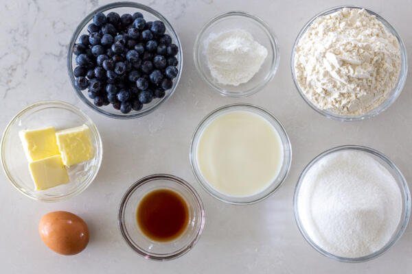 Ingredients for the blueberry coffee cake