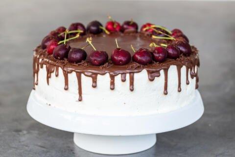 Drunken Cherry Cake on a stand