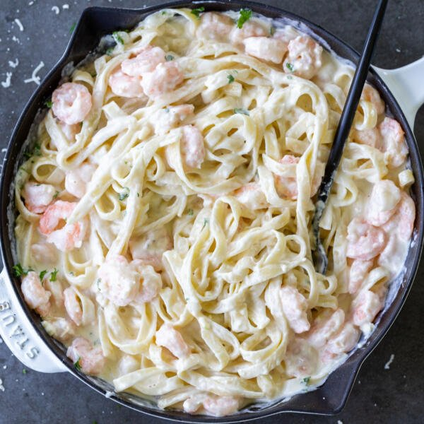 Shrimp Fettuccine Alfredo in a pan