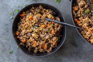 Cooked Stewed Buckwheat and Beef in a bowl