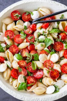 Caprese pasta salad in a bowl with