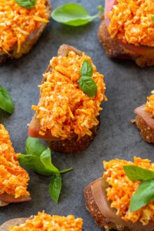 Carrot tea sandwiches with herbs