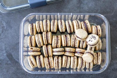 macarons in a storage container