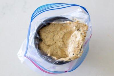 macaron mixture in a ziplock bag