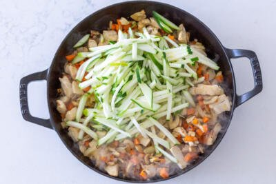 Zucchini added in a pan