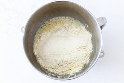 flour in a bowl with liquids