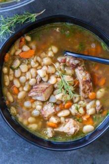 a bowl of white bean soup in a bowl