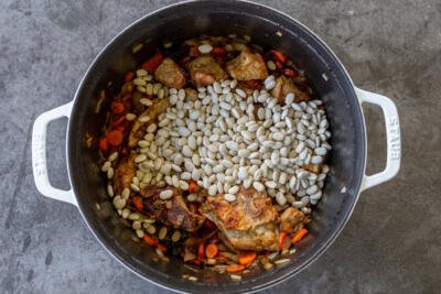 beans added to the pot