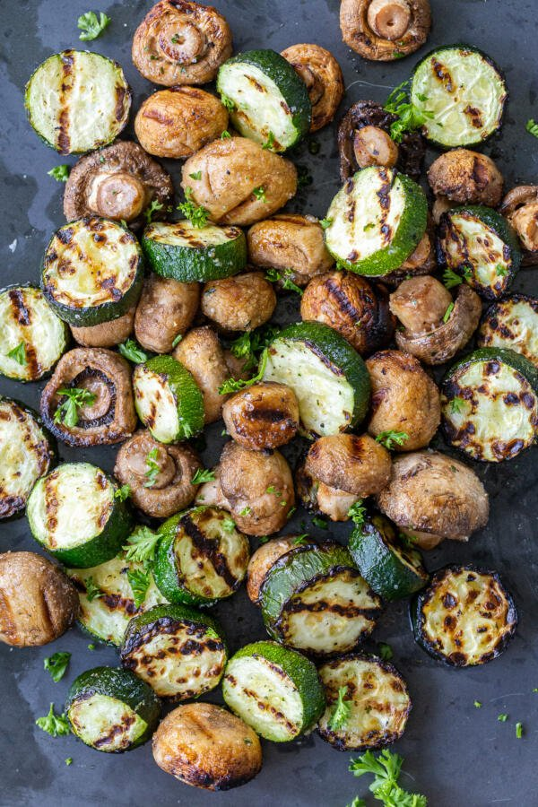 Grilled Zucchini and Mushrooms on a serving tray