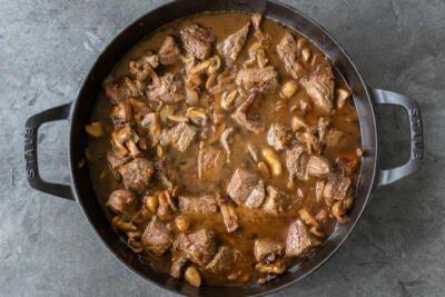 Beef in a liquid pan