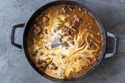 cream added to Beef Stroganoff Pasta
