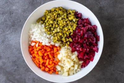 Vinaigrette Salad ingredients in a bowl