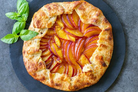 Peach Galette on a serving tray