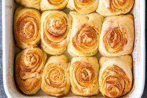 Morning buns in a baking sheet