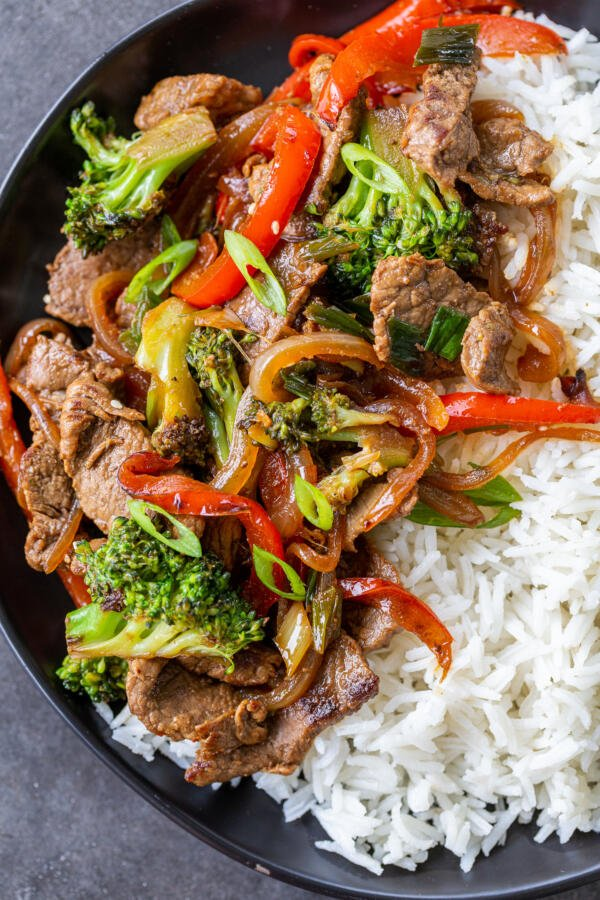 stir fry with rice on a plate