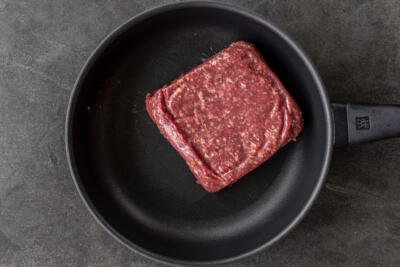 Ground beef in a frying pan