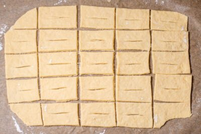 cut up dough into pieces