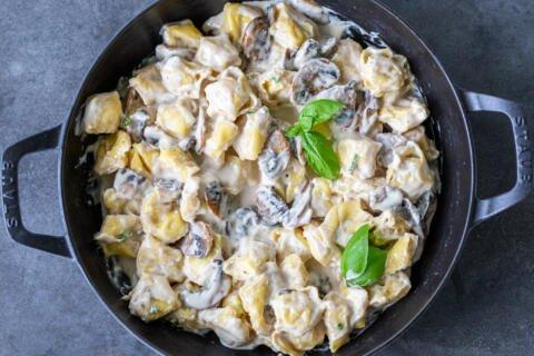 Mushroom cream tortellini in a pan